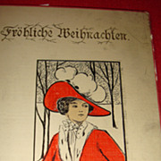 "European/German ""Frohliche Weihnachten"" Beautiful Lady in Red With White Fur Muff, C"