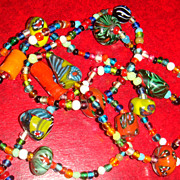 SALE Amazing Bright and Bold Colors Venetian Glass Italian Millefiori Beaded Necklace Large Be