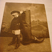 SOLD 1909 Photo Postcard  Adorable Child High Top Boots, Coat Hat 'RUBBER' Boot C1909 Roth Lan