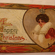 SALE Early Embossed Christmas Postcard Lady in Red, White Fur, Gloves, Heart, Mistletoe, ...