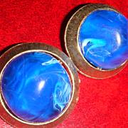 Vintage Clip Earrings Large Marbled Cobalt Blue/White Lucite Set in Brushed Goldtone Design Se