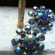 SALE Carnival Glass Like Blue Aurora Borealis Prong Set Clip Earrings