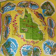 "SALE Beautiful Large Square ""Queensland"" Australia  Vintage Colorful Table Linen"