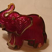 1980's Berebi Cool Mechanical Elephant Pin/Brooch Hot Pink Enameled Look