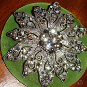 "Large 3"" Dimensional Marcasite & Rhinestone Flower Brooch From 1980's"