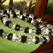 Beautiful Silvertone Necklace Black & Clear Crystals Roundelles