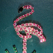 SALE Prong Set Figural Pink Flamingo Pin/Brooch All Prong Set Rhinestones!