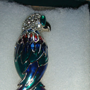 """SALE Huge 4 1/2"""" Heavily Enameled Bird of Paradise Brooch With Pave Rhinestones Colorful"""
