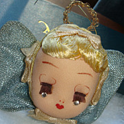 SOLD Beautiful Vintage Stocking Head Christmas Praying Angel Christmas  Ornament