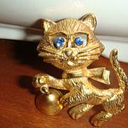 SALE Big Blue Eyed Kitty Cat Ringing Bell Mechanical Figural Pin/Brooch Signed
