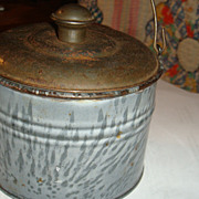 SALE Near Mint Tiny Grey Swirl Graniteware Enamel Child's Lunch Pail Berry Bucket Tin ...