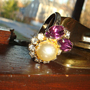 Prong Set Purple and Clear Rhinestones & Faux Pearl Costume/Cocktail Ring Well Made Size 8 Adj