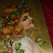 SALE Rosy Cheeks Angel Child With Holly Berries & Leaves in Wavy Hair Christmas Embossed Postc