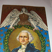 July Fourth Patriotic Postcard Huge Angel Holding America Symbolized By Laurel Wreath Stars ..