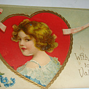 SALE 1910 Embossed Valentine Postcard Adorable Girl in Gold Gilt Framed Red Heart Int. Art ...