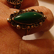 SALE Sterling Silver Hecho en Mexico Ring With Artist Hallmark Green Onyx or Chrysophase Gemst