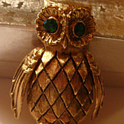 SALE Owl Pin Brooch Dimensional Solid Perfume Figural Vanda Green Rhinestone Eyes