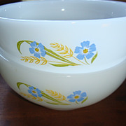 SALE 2 'Forget Me Not' Fire King Chili Cereal Bowls 'Blue & Gold'