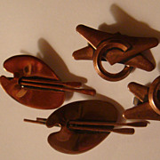 Two Pairs Renoir Copper Patina Modernist Clip On Earrings One Price for Both!