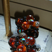 SALE VENDOME Vintage Earrings, Topaz or Cognac, Amber & Black Crystal Glass Beads Silvertone .