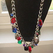 SALE Long Necklace Double Loop Chain Charm With Dangling Lucite Charms, Beads, and Baubles