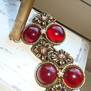 SALE Vintage Clip On Earrings Deep Red Lucite Cabochons, Antiqued Flowers & Aurora Borealis