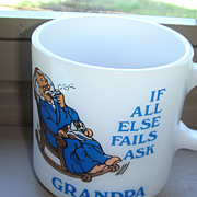 SALE Colorful Blue & White Grandpa Mug Probably Hazel Atlas