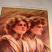 SALE Artist Signed 'Anticipating' Philip Boileau 1907 Postcard Twin Ladies
