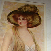 1910 Artist Signed 'In Maiden Meditation' Philip Boileau Beautiful Women Postcards Large Hat .