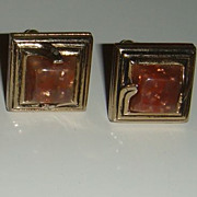 SALE Vintage SWANK Lucite Cufflinks Brown Confetti With Gold