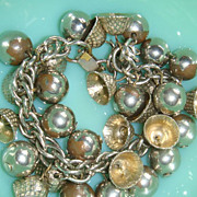 Fun Silver Toned Theme Charm Bracelet Loads of Bells & Balls