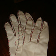 SALE Vintage Embroidered Zigzag Leather Look Nylon Gloves Fownes