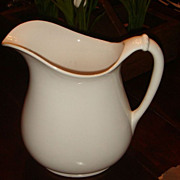 "SALE 8 3/4"" Homer Laughlin American White Ironstone Rope Handle Pitcher"