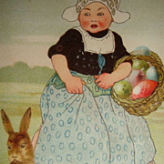 SALE Early 1900s Easter Postcard Bunny, Large Egg  Holland Dutch Lady With Egg Basket