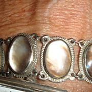 SALE Bezel Set Iridescent Glass  or Moonstone Silver Bracelet 12 Links