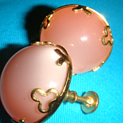 SALE Vintage Screw Back Thermoset Earrings Iridescent Lucite Peachy Pink