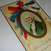 SALE Early 1900's Germany Embossed Postcard George Washington Birthday Patriotic Unused