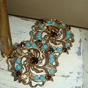 SALE Vintage Filigree Flower Earrings Garnet Red and Turquoise Stones Marked