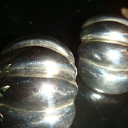 SALE Sterling Silver Clip Earrings Vertical Ribbed Dome Pumpkin Design