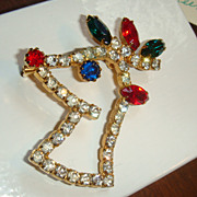 SALE Rhinestone Christmas Rudolph REINDEER Pin Book Piece Brooch Figural Prong Set