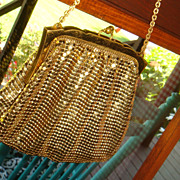 SALE Vintage Child Size or Large Doll Whiting Davis Gold Mesh Purse Handbag