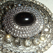 SALE Jeanne Victorian Revival Brooch Marcasites, Smoky Rhinestones, Cabochon, Filigree