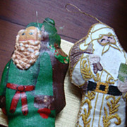 SALE 2 Vintage Christmas Santa Ornaments Embroidery & Painted Gold Threads Victorian Style