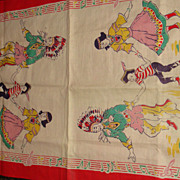 SOLD Vintage Linen Towel or Scarf Mirrored Native American Indians Dancing to Music Border Col