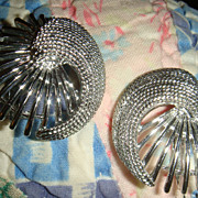 SALE Vintage Sarah Coventry Earrings Shiny & Textured Silver Tone Like New