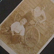 SALE CDV Size Matted Photo Card 2 Boys, Dog & Old Bicycle, Brothers, Alfafa Hairstyles