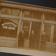 SALE Paducah, KY Advertising Wm. Hoffman Tin Shop Photograph Matted Card 3 Men Derby Hats