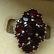 Garnet Red Sterling Silver Cluster Ring Size 5-5 1/4 KY Estate