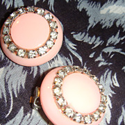 SALE Lucite or Thermoplastic Rhinestone Vintage Button Style Clip Earrings