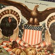 SALE Patriotic Thanksgiving 1908 Signed Postcard American Eagle, Shield, Turkeys, Pumpkins, ..